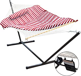 Lazy Daze Hammocks 12 Feet Space Saving Steel Hammock Stand with Cotton Rope Hammock Combo, Includes Quilted Polyester Hammock Pad, Pillow, Mag Bag and Cup Holder, Red/White Stripe