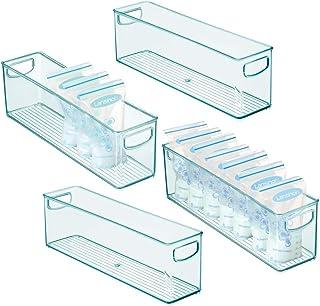 mDesign Boite en Plastique pour Alimentation bébé (Lot de 4) – Rangement frigo Haut avec poignées – Boite Plastique Alimen...