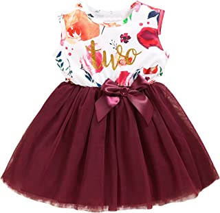 Shalofer Baby Girl Birthday Dress Set Little Girls Floral Lace Outfit Sets
