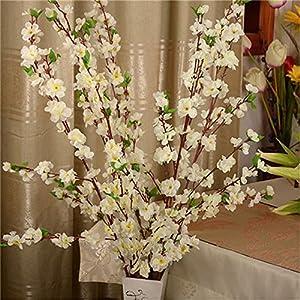 65CM Artificial Spring Plum Peach Blossom Branch Silk Flower Tree Decor,White