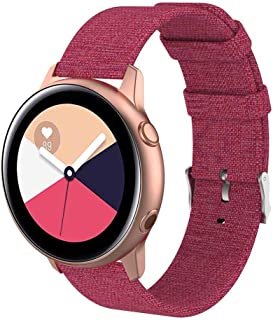 Canvas Strap Watch Bands - AOLVO 20mm Replacement Accessories Strap Compatible with Samsung Galaxy Watch Active Wristbands Red