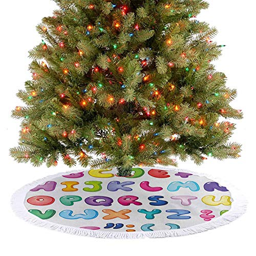 Soft Christmas Tree Mat Bubble Shaped 3D Style Alphabet Set Colorful Kids Children Design Comic Typeset Xmas Tree Holiday Decorations for Xmas Tree Holiday Party Decorations Multicolor 122 cm