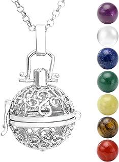 Jovivi Chakra Necklace 16mm Natural Gemstones 7 Chakras Ball Stones Beads Hollow Flower Locket Pendant Reiki Healing Energy Beads 28