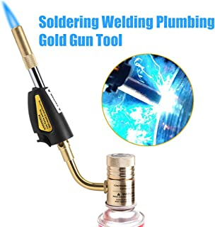 Gas Self Ignition Turbo Torch Brazing Soldering Propane Welding Plumbing Gun Tool, Adjustable High Temperature Pressure Flame