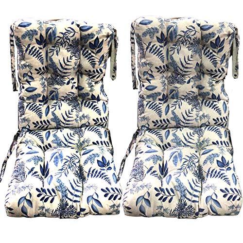 Pack 2 Cojines con Respaldo de Silla Jardin Conjunto Cojin de Asiento para Interior y Exterior Cómodo. Cojines para sillas Comedor, mecedoras, bancosterraza (Ramas Azules)