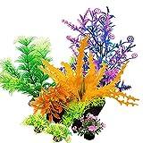 KLPCWL Aquarium Plants (6 Pieces) Indoor Aquarium Decoration, Artificial Fish Tank Decoration Accessories