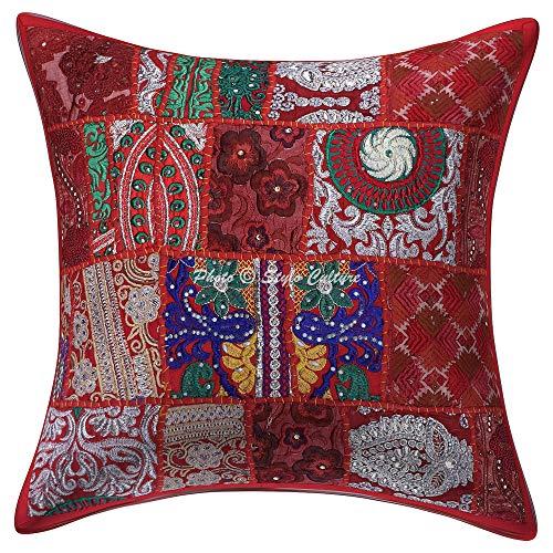 Stylo Culture Indio Resumen Fundas de Colchón 45x45 cm Rojo Algodón Tradicional Fundas Cojines Sofa Fundas de Cojines Floral 18x18 Inch Patchwork Vintage Bohemian Floral | 1 Pc
