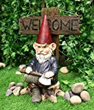 Ebros Gift Whimsical Grumpy Grinchy Rude Old Mr Gnome Dwarf Holding Axe with Welcome or Go Away Plank Sign Statue Garden Patio Outdoor Poolside Magical Gnomes Decorative Figurine