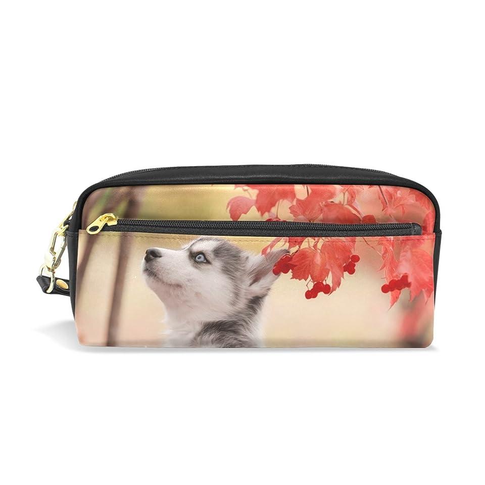 漁師レキシコンキルトAOMOKI ペンケース 化粧ポーチ 小物入り 多機能バッグ レディース 紅葉 ハスキー 犬