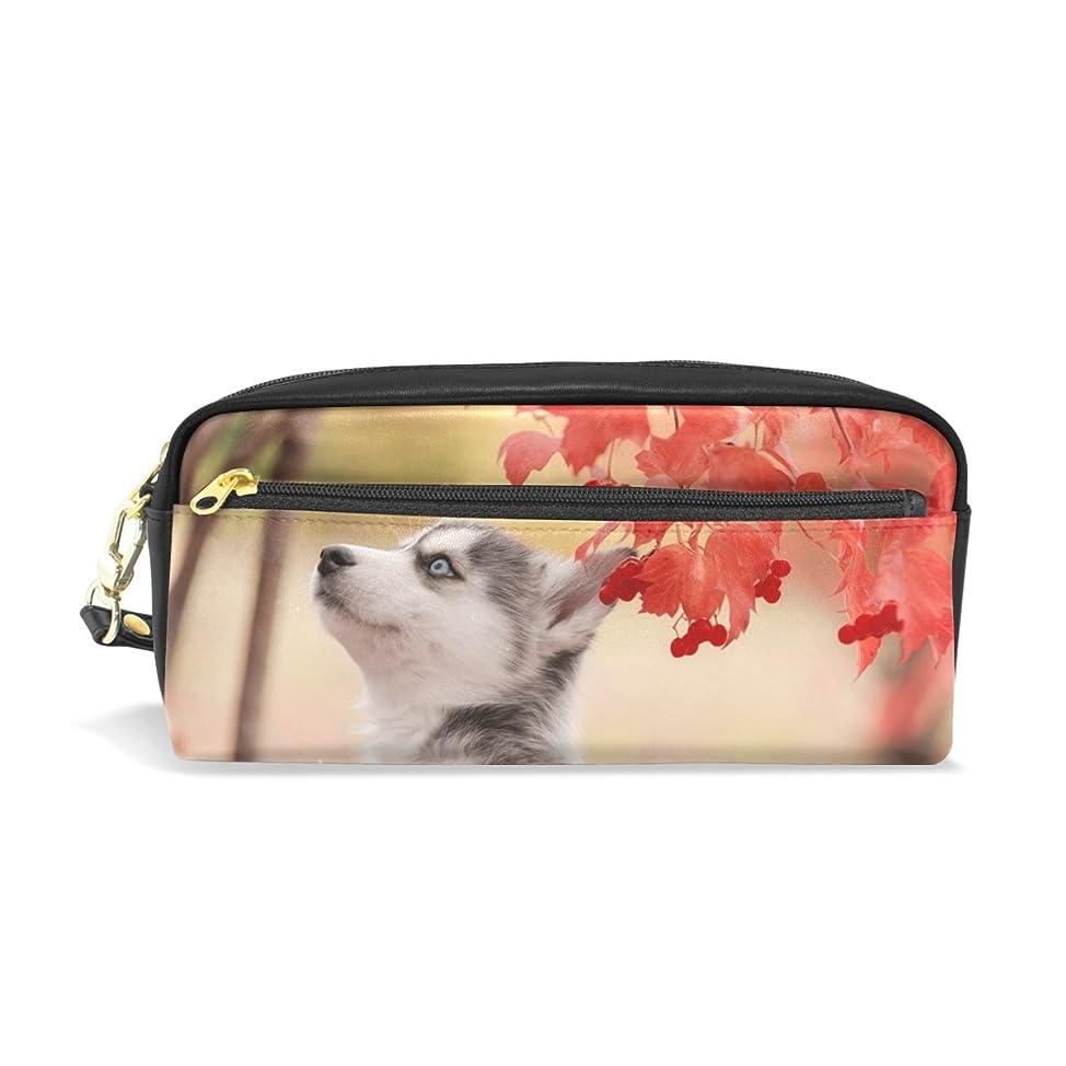 阻害する静かに想像力豊かなAOMOKI ペンケース 化粧ポーチ 小物入り 多機能バッグ レディース 紅葉 ハスキー 犬