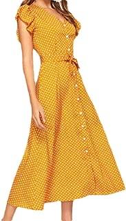 MogogoWomen Button Falbala Polka Dots V Neck Tunic Simple Maxi Long Dress