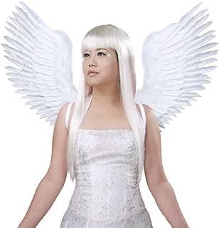 (TM) White Open Swing V Shape Costume Feather Angel Wings Adult Unisex