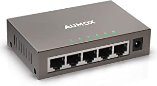 Aumox 5 Port Gigabit Ethernet Network Switch, Desktop, Unmanaged Ethernet Splitter, Durable Metal Casing, Traffic Optimization, Fanless Quite, Plug and Play(AM-SG205)