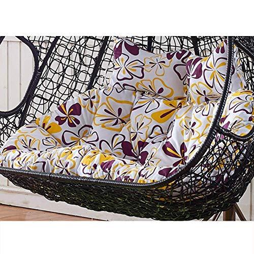 LYHY Schaukelstuhl Kissen, hängende Hängematte Sitzpolster Wicker Nest Hängende Stuhl Rückenlehne 2 Personen Sitzer Dicker Reißverschluss Abnehmbar-n 140x110cm Farbe: C, Größe: 140x110cm (55x43inch)