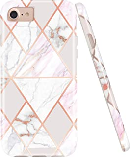 JAHOLAN Shiny Rose Gold Geometric Pink Marble Design Clear Bumper Glossy TPU Soft Rubber Silicone Cover Phone Case Compatible with iPhone 7 iPhone 8 iPhone 6 6S