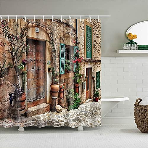 HUIPJN DuschvorhangGasse in der Altstadt von Italien Stadt Duschvorhänge Wand Malerische Badezimmervorhänge wasserdichte Stoff Badvorhänge für Badewanne Dekor