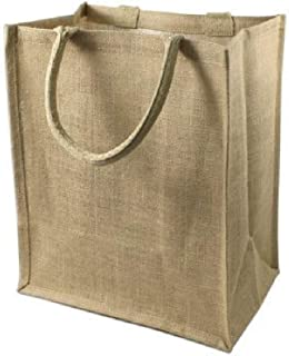 Wine Bag Store, Jute Burlap Six Bottle Wine Gift Tote Bags, Size 8