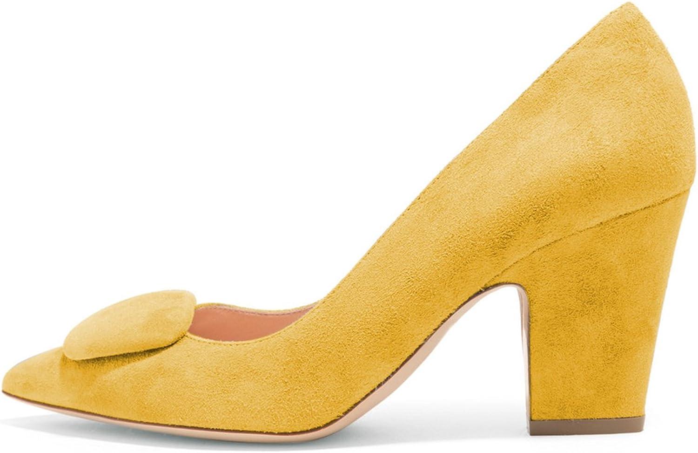 FSJ Women Retro Chunky Block High Heels Pumps Pointy Toe Office Lady Comofrt shoes Size 4-15 US