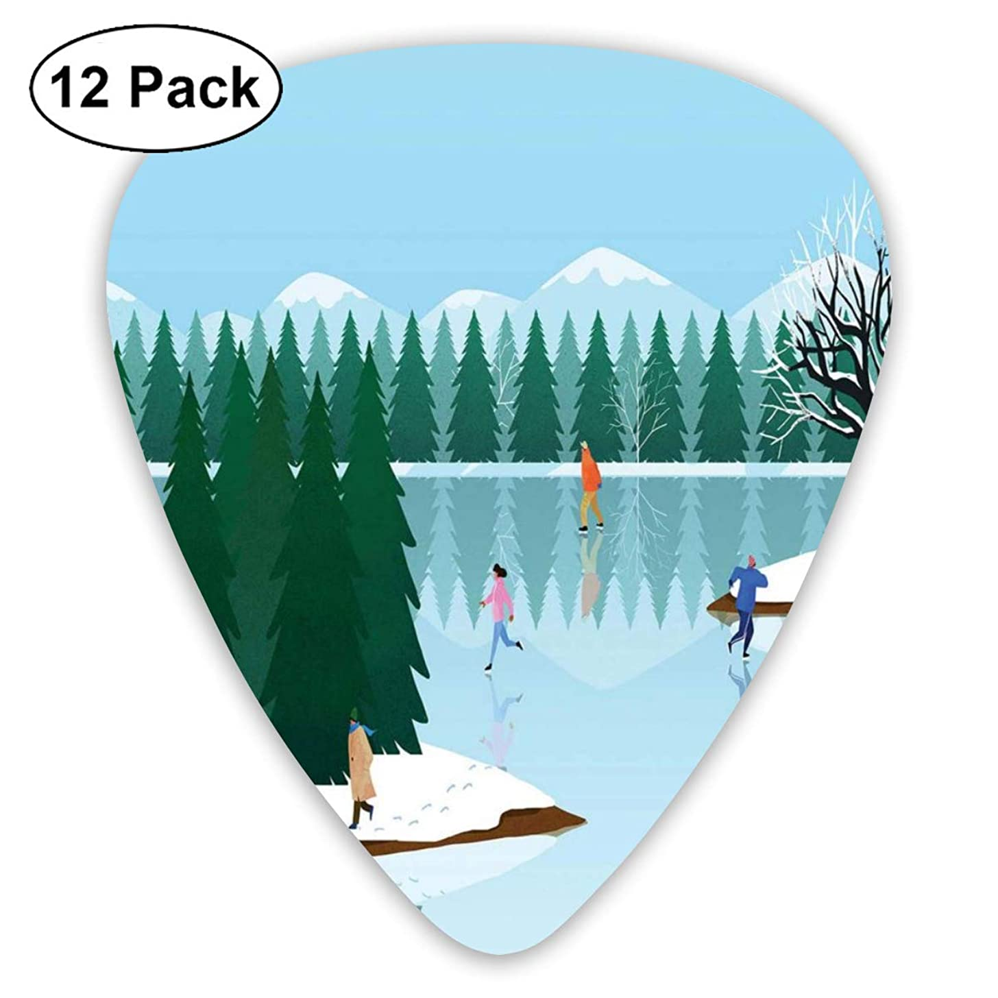 Celluloid Guitar Picks - 12 Pack,Abstract Art Colorful Designs,Frozen Lake Christmas Holiday Ice Skating Illustration Urban Activity Composition,For Bass Electric & Acoustic Guitars.