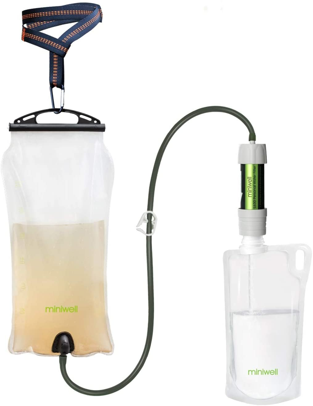 miniwell Gravity Water Filter Straw Ultralight Versatile Hiker Water Filter Optional Accessories. TUV Proven Emergency Kit Hurricane Storm Supplies.