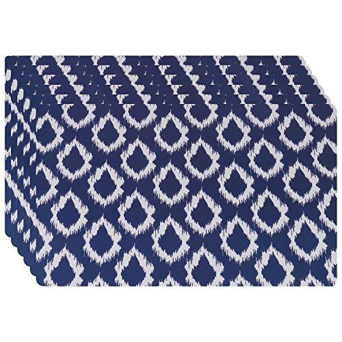 Tovagliette Americane Plastica Lavabili Tovagliette Nere Blu Set di 6 Tovagliette Monouso Plastificate