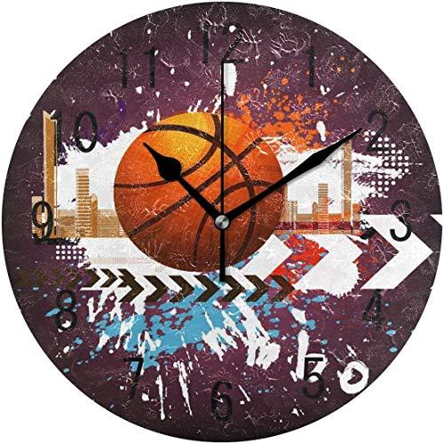 ALLdelete# Wall Clock Runde Wanduhr Home Decor Ölgemälde Basketball Ball Runde Wanduhr Nicht tickend Stille Uhr Kunst für Wohnzimmer Küche Schlafzimmer