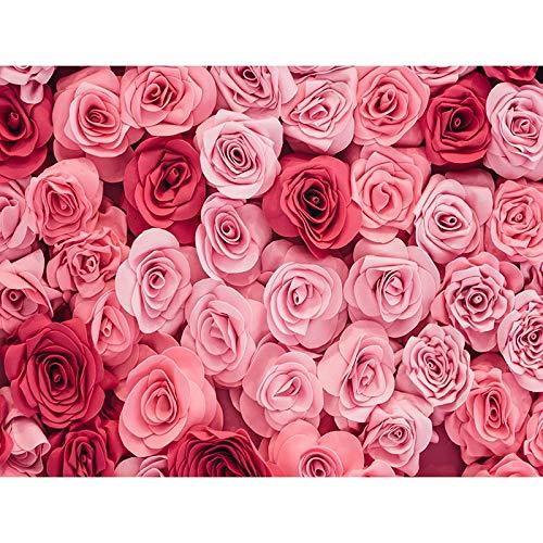 Fondos de Vinilo para fotografía de Boda, Fondos de Fiesta de Pared de Flores Rosas, decoración de cumpleaños, telón de Fondo para Fotos A13, 7x5ft / 2,1x1,5 m