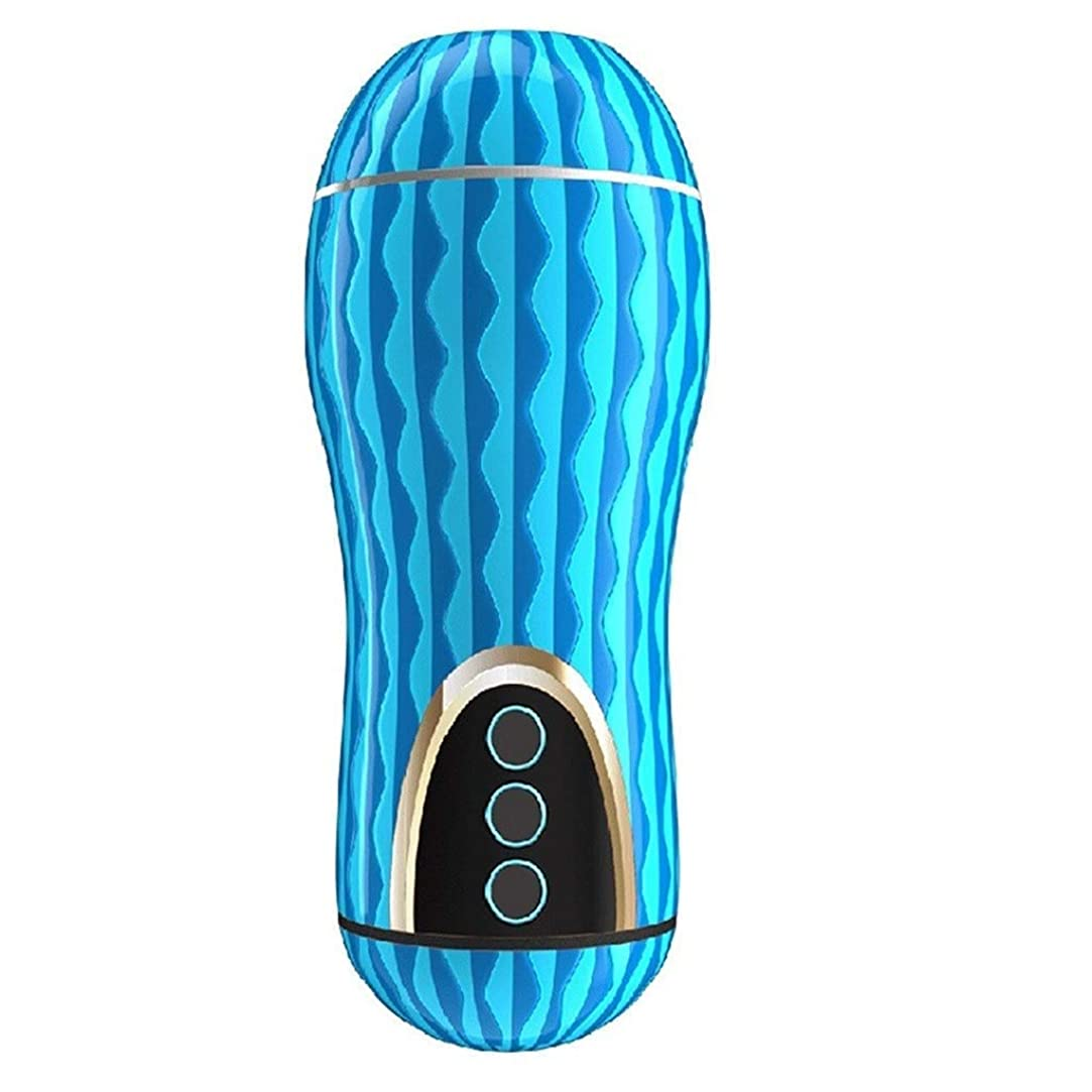 到着具体的に正確に人工リアルな柔らかいシリコーン人形コントロールマッサージャーキット強い吸引/振動マッサージバキュームポンプツール (Color : 青)