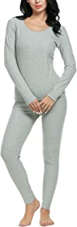 Anboer Women's Cotton Thermal Underwear Set Soft Cotton Thermal Underwear Top and Bottom Sets