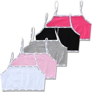 angwang Sutiã para meninas jovens, 5 peças/lote para meninas de 8 a 16 anos de algodão, roupa íntima adolescente para o verão