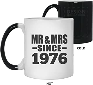43rd Anniversary Mr & Mrs Since 1976-11oz Color Changing Mug Magic Tea-Cup Heat Sensitive - Gift for Wife Husband Wo-men Her Him Wedding Birthday Anniversary Christmas Xmas Santa