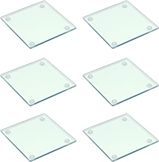 Harbour Housewares Square Glass Drinks Coasters - Clear - Pack of 6