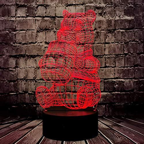 Winnie Pooh Nachtlicht für Mädchen Teddy Honig Bär Cartoon 3D optisch 7 Farbe ändern Dekor Raum Baby Schlaf stimmung LED Tischlampe Urlaub Geburtstag Weihnachten Party liefern Kind Freund Einzigartige