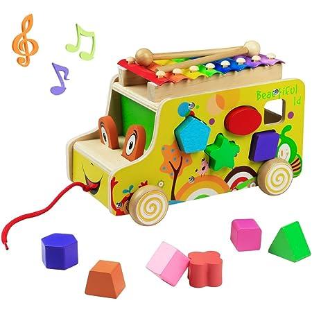 yoptote Giochi Montessori 1 2 3 Anno Xilofono Bambini Giochi in Legno Strumenti Musicali Bambini Giocattolo in Legno Xilofono Auto per Bambini 1 2 3 Anni