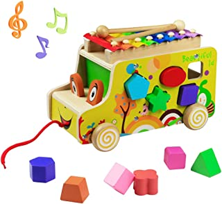 yoptote Silofono Niños Xilófono Música de Madera Juguetes Musicales Remolque de Madera Multifuncional para Niños Mayores d...