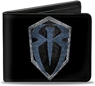Buckle-Down PU Bifold Wallet - Roman Reigns Icon Diamond Plate Black/Grays/Blues