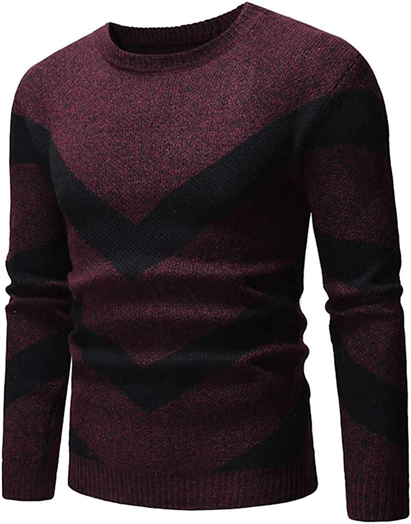 MODOQO Men's O-Neck Slim Fit Knitted Sweater Casual Warm Soft Outwear for Autumn Winter