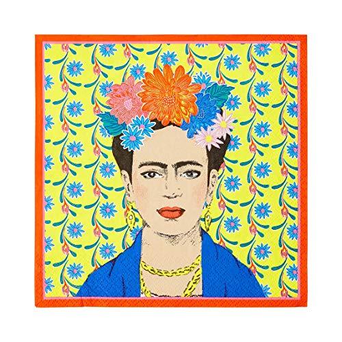 Talking Tables- Paquete de 20 Papel con Estampado de Frida Kahlo |Servilletas Desechables, Decoraciones Mexicana, Suministros para Fiesta de cumpleaños Boho, Cinco de Mayo, decoupage, Color Napkin