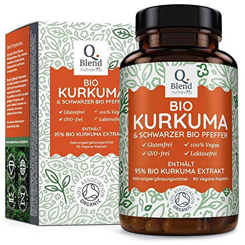 Bio-Kurkuma 1500 mg - 95% Kurkuma-Extrakt - vegane Kurkuma-Kapseln mit 1350 mg Bio-Kurkuma & 150 mg Bio-Kurkuma-Extrakt (95% Curcumin-Extrakt) pro Portion - Hergestellt von Nutravita
