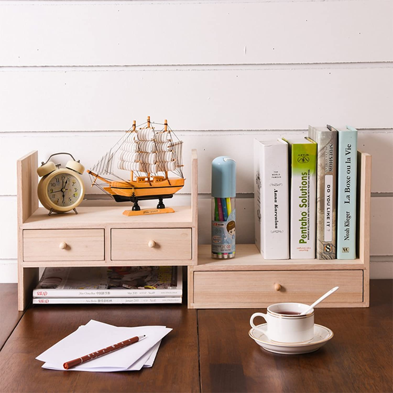 Bookshelf,Creative Solid Wood Table Rack Small Bookcase Combination Simple Desktop Desk Bookcase-Log 34x20x28cm(13x8x11)