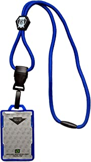 Specialist ID Heavy Duty Blue Lanyard and Identity Stronghold IDSH2004-001B Blue 2-Card Shielded Badge Holder
