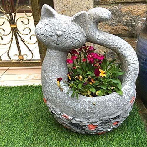 W.Z.H.H.H Crafts Jardinage Pots Creative Grande et Belle Grenouille Animal Chat Jardin Balcon Succulentes Artisanat décoratifs Potted Décorations Accueil (Size : S)