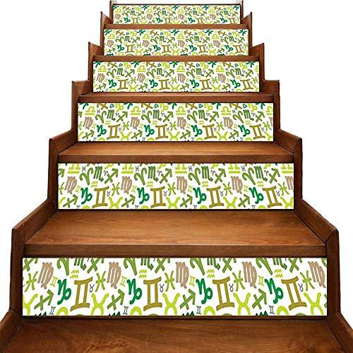 JiuYIBB - Pegatinas de astrología para escaleras, diseño de icono de Capricornio con signos mitología griego Saturno