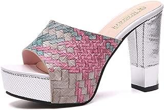 Cosplay-X Women's Sexy Open Toe Slider Slipper High Block Heels Slip On Clog Sandals Platform Mules Sandals