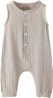 Arleysh Newborn Baby Boys Girls Romper Jumpsuit Cotton Linen Sleeveless Ruffled Bodysuit Infant Summer Clothes Outfits