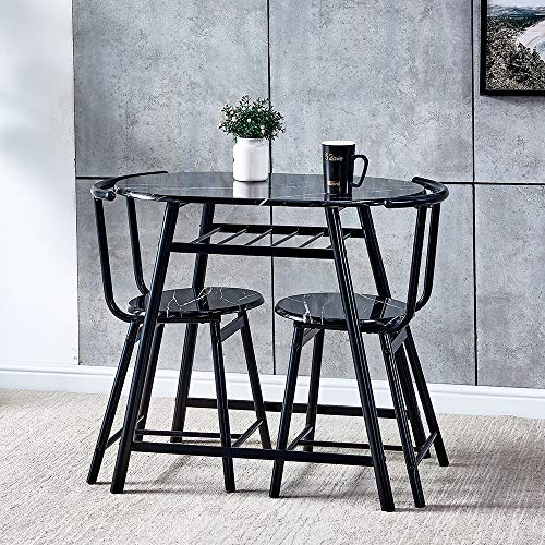 HomeSailing Dining Table and Chairs Set of 2 Marble-like Pattern Compact 3 Piece Kitchen Breakfast Bar Set Wood Finish Metal Frame with for Small Apartment Space Saving (Black)