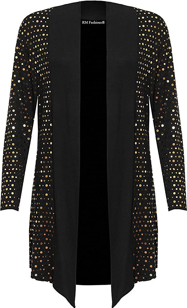 RM Fashions Women's Plus Long Sleeve Sequin Open Waterfall Cardigan Polka Dot Top (US 10-24)