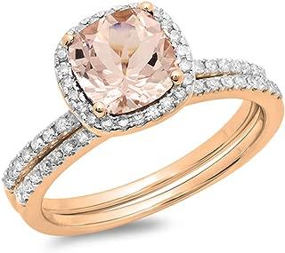 10K Cushion Cut Morganite & Round Cut White Diamond Ladies Bridal Halo Engagement Ring Set, Rose Gold