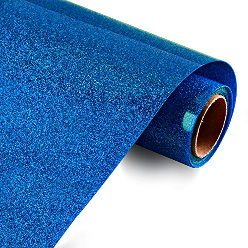 KISSWILL Glitter Heat Transfer Vinyl for T-Shirts, 10 Inches by 6 Feet HTV Iron on Vinyl Rolls (Royal Blue)