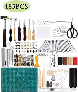 JFZS 183PCS Kit De Gravure sur Cuir Outils Et Fournitures en Cuir Fournitures De Kits De Travail en Cuir pour Couture Poin...